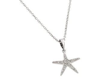 Star Fish Sterling Silver Pendant Necklace Gift Jewelry