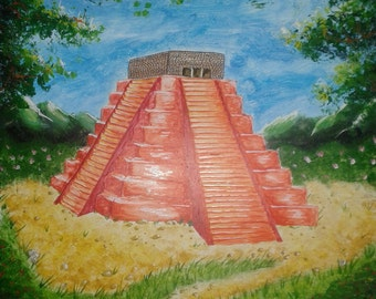 Mayan Temple, abstract acrylic painting by Feidhlim Donnelly (signed)