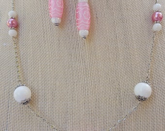 Pink, white and silver necklace/earring set