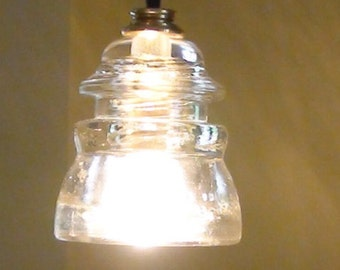 Vintage Railroad Clear Hemmingray 45 Insulator Pendant Light