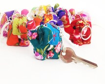 10 Pcs Small Elephants Keychain Mixed Colors Flower Fabric Handmade Wholesale