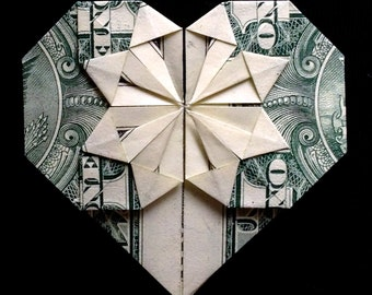 Origami HEART Valentine's Day Gift Money Origami Made out of Real 1 Dollar Bill