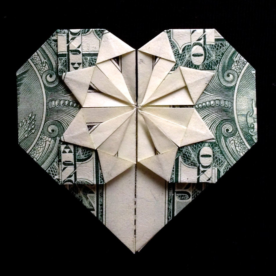 Origami HEART Valentine's Day Gift Money Origami Made out - photo#9