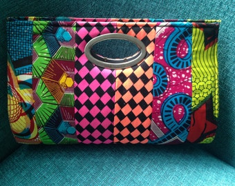 African Print Patchwork Clutch-Large