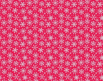 FLANNEL Fabric Riley Blake Santa Snowflakes Red Christmas Flannel. Sold by the 1/2 yard