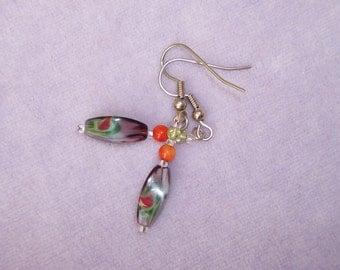 Artglass and coral earrings