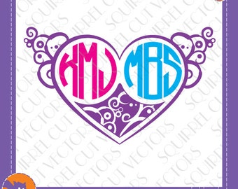 Heart Monogram Frame for Two SVG DXF EPS Cutting files