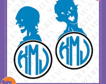 Zombie Monogram Frames SVG DXF EPS Cutting files