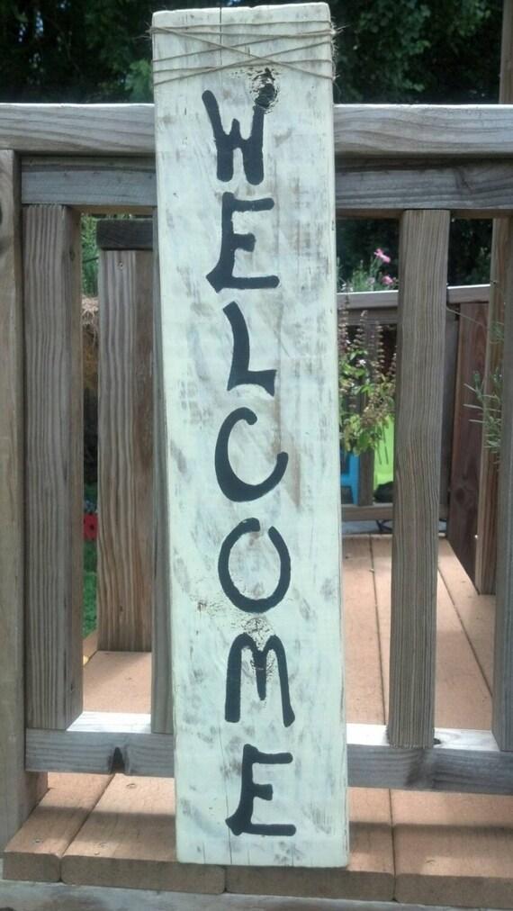 Wooden welcome sign welcome sign wood welcome by - Wooden door signs for home ...