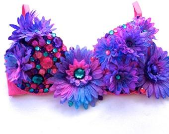 Tie Dye Daisy Blue Pink and Purple Glitter Bra, Rave Bra, Dance Bra