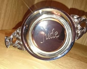 Engraved personalised Stainless Steel 3'' Quaich