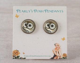 Owl Stud Earrings - Owl Post Earring Owl Earrings Owl Jewelry Bird Earrings Nature Earrings Woodland Jewelry Gift for Wife