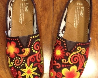 Abstract Floral Handpainted Canvas Shoes - Toms, Vans, Converse, Keds