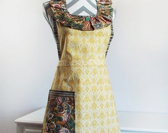 Women's Apron, Yellow & White Damask, Floral Pheasant and Multi-Color Stripe