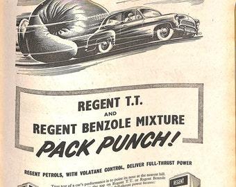 Original Vintage 1950s Car Advert - Regent Petrols Advert 'They're best - they're British!' - The Motor Magazine 26 September 1956
