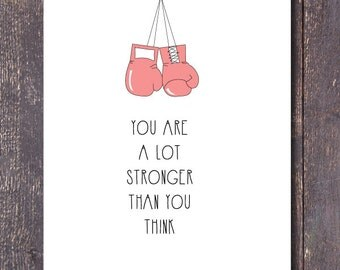 """Wall Print, """"You are a lot stronger than you think"""" Pink Boxing Gloves Decor, Digital Download"""