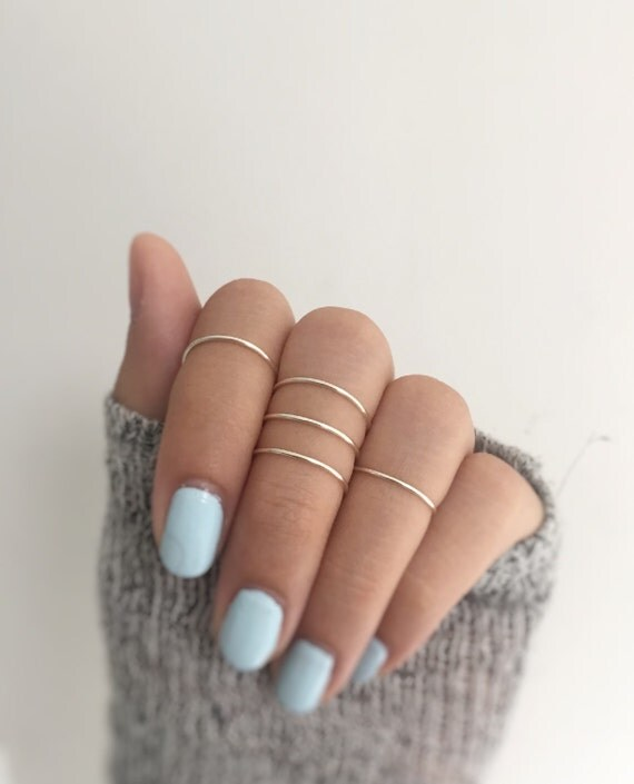 5 silver knuckle ringssilver ring setmidi ring set of