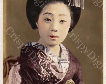 Geisha Photo Vintage Image in Kimono Digital Download Antique Japanese Photo