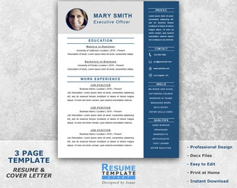 Executive Resume | Etsy  Executive Resume Template
