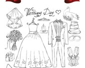 Bride and Groom Wedding Digital Clip Art Scrapbook Embellishment Classic Calligraphy Png Clipart Instant Download Commercial Use
