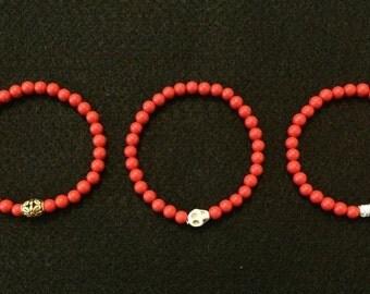 Men's Red Beaded Bracelets