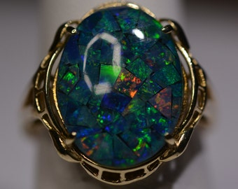 Rare Vintage Fiery Opal Ring Size 8