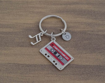 Cassette Tape Keychain, Musical Keychain, Tape Keychain, Cassette Tape, Musical Note, Music, Beamed, Personalized, Customized, Initial, Gift