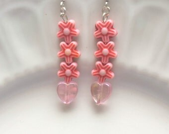 Pink heart earrings, Pink flower earrings, Pink earrings, Hearts and flowers, Love heart jewelry