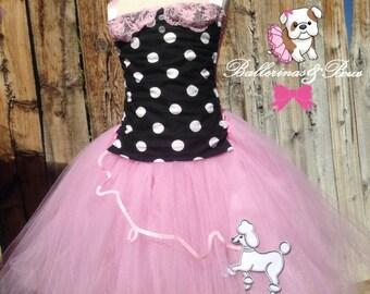 Girl's 50's inspired tutu dress, rockabilly tutu, Poodle tutu,