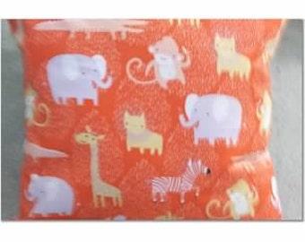 Orange Elephant Giraffe Juvenile Pillow