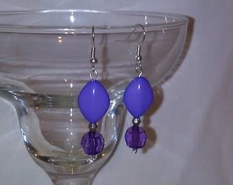 Purple w/ silver dangle earrings
