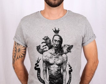 """Iggy Pop"" T-shirt / man - men / grey - grey / cotton t shirt"