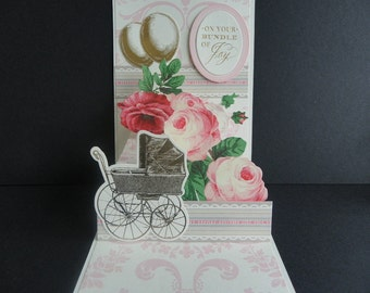 Handmade Pop up Card New Baby Girl
