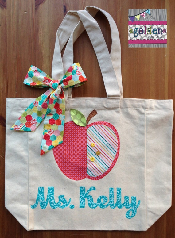 Personalized Name and Apple Teacher Tote Bag with Fabric Bow, Brights