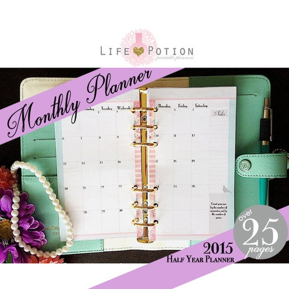 Printable Monthly Planner 2015: Dated Monthly Planner Printable Half Year 2015 By LifePotion