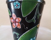 Hand painted clay pot, small pottery, utencil holder, hand painted decor, floral pot, teacher gift, hand painted pot, small pot, pencil cup