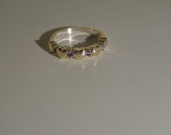 Free Shipping 925 Sterling Silver Amethyst Crystal Heart Ring, Heart Ring, Size 7 Ring