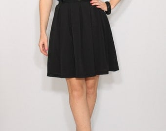 Black mini skirt with pockets Chiffon skirt High waisted skirt