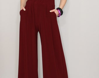 Wide leg pants Wine red pants with pockets Women trousers