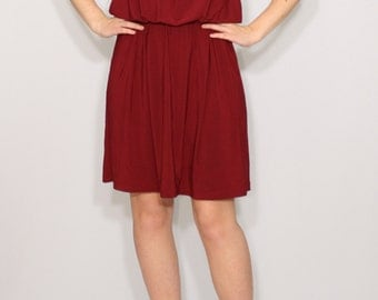 Burgundy bridesmaid dress Wine red dress Short dress Spaghetti strap dress