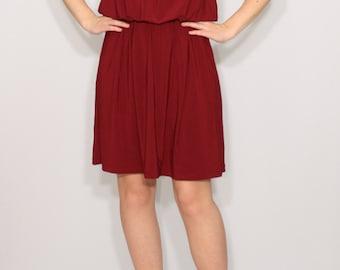 Burgundy bridesmaid dress Wine red dress Short dress Spaghetti strap dress