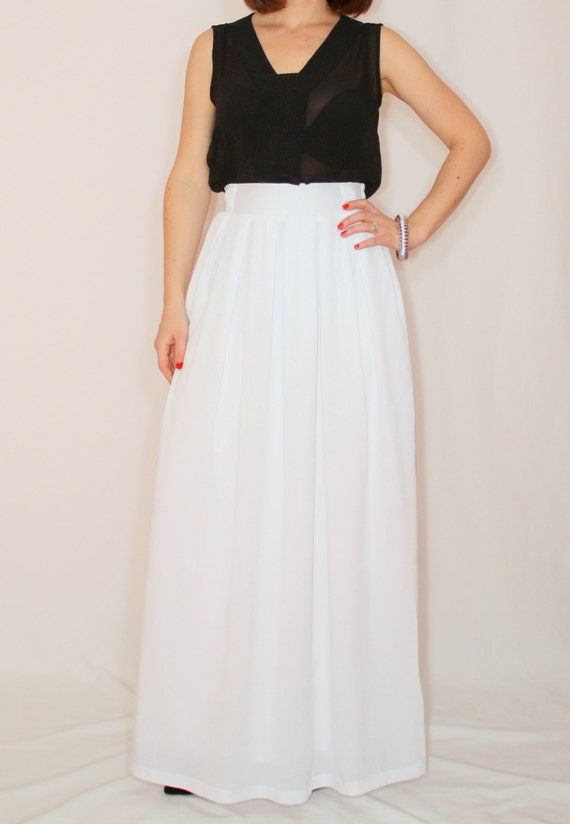 white maxi skirt skirt chiffon maxi skirt high by