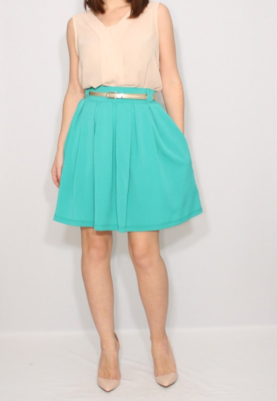 turquoise blue skirt with pockets chiffon skirt high by
