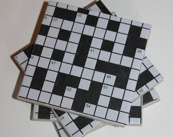 Ceramic tile coasters, crossword, quirky cute coasters, handmade, set of 4, black and white