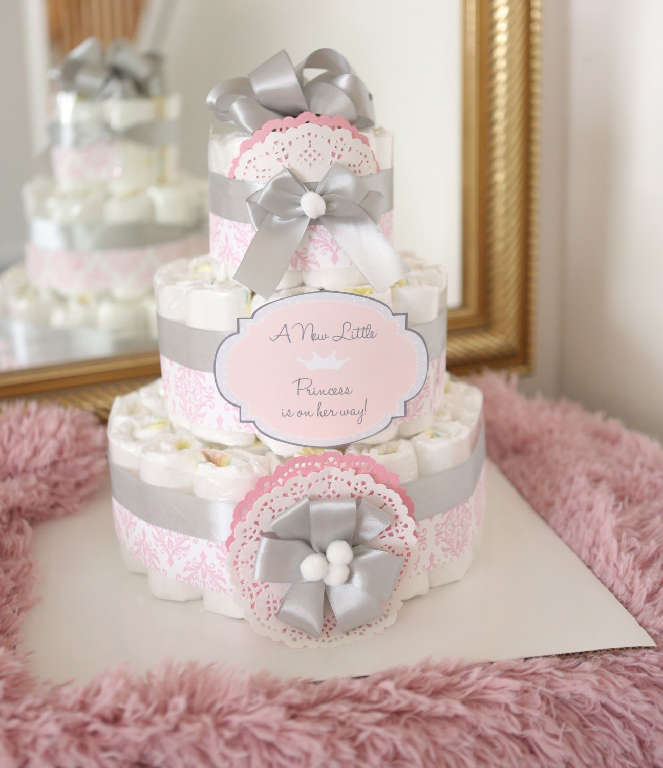 Baby Girl Damask Pink & gray Diaper Cake Baby Shower Centerpiece