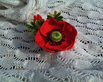 Red poppy brooch, flower, for women, gift, network, for dress or handbag