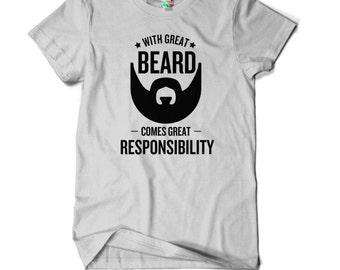 Avec grande barbe vient T-shirt drôle - anniversaire - cadeau - drôle - Humour des hommes - papa - oncle - Brother - grande responsabilité T-Shirt