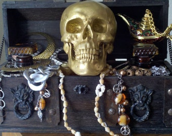 Golden Skull Silver Skull Human Skull Replica for Halloween, Treasure Chest, Movie Prop Home Office Party Gift Boneyard Statue Figurine