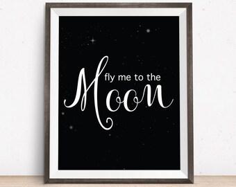 Nursery Decor, To The Moon Print, Nursery Print, Kid's Room Art, Nursery Art, Printable Art for Kids, Kid's Room Art, Black And White Art