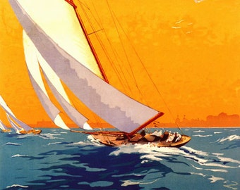 Maryland Sail Boat Sailing in Annapolis  American Travel Tourism Vintage Poster Repro FREE SHIPPING